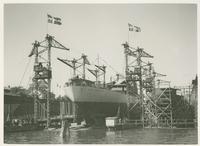 """Sjösättning i Göteborg 12 juli 1945 av A-B Disas M.S. """"Yvonne"""""""